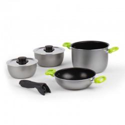 Комплект алуминиеви съдове за готвене 7 части, сребристо-зелен