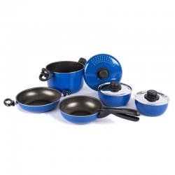 Комплект алуминиеви съдове за готвене 9 броя, син/черен